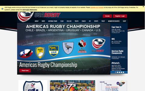 Screenshot of Home Page usarugby.org - USA Rugby - captured Dec. 13, 2015