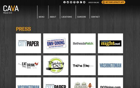 Screenshot of Press Page cavagrill.com - Cava Mezze Grill - captured July 19, 2014