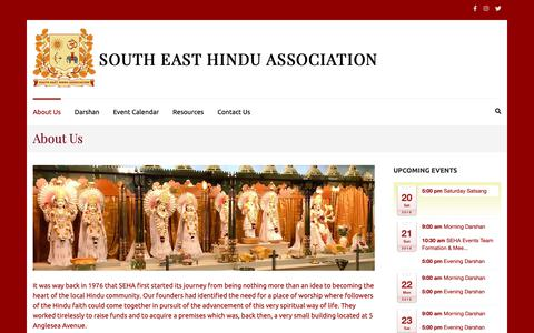 Screenshot of About Page seha.org.uk - About SEHA | South East Hindu Association | London | Woolwich | South East Hindu Association - captured Oct. 20, 2018