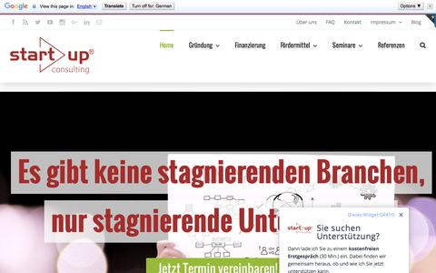 Screenshot of Home Page start-up-berater.de - Unternehmensberatung - Existenzgründungsberatung start!up - captured Sept. 9, 2016