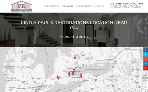 Screenshot of Locations Page paulsrestorations.com - Visit Our Commercial and Residential Restoration Locations - Paul's Restorations - captured July 16, 2018