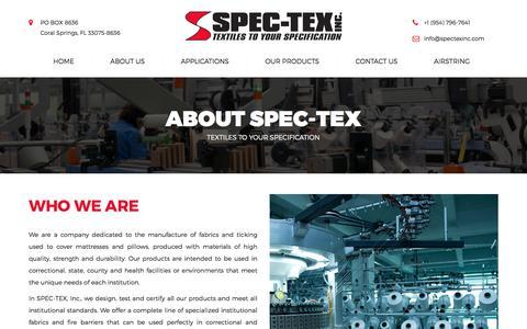 Screenshot of About Page spectexinc.com - About Spec-Tex | SPEC-TEX INC. - captured Jan. 27, 2018