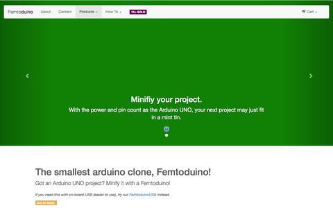 Screenshot of Products Page femtoduino.com - smallest arduino clone | Femtoduino - captured Oct. 5, 2014