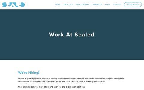 Screenshot of Jobs Page sealed.com - Work at Sealed — Sealed - captured July 3, 2016