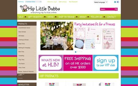 Screenshot of Home Page hiplittlebubba.com - Premier Online Baby Store, Baby Clothes, Girls Clothing, Boys Clothing, Accessories - Hip Little Bubba - captured Sept. 30, 2014