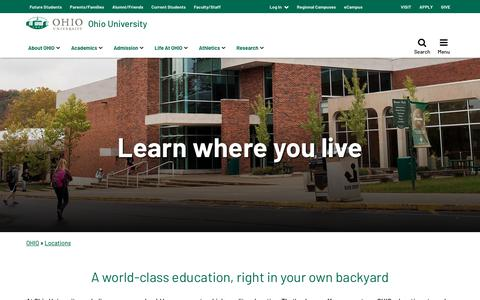 Screenshot of Locations Page ohio.edu - OHIO Locations | Ohio University - captured July 14, 2019