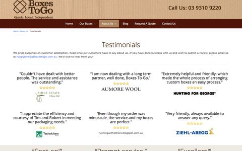 Screenshot of Testimonials Page boxestogo.com.au - Testimonials | Boxes To Go | Call Today On 03 9310 9220 - captured Sept. 14, 2018
