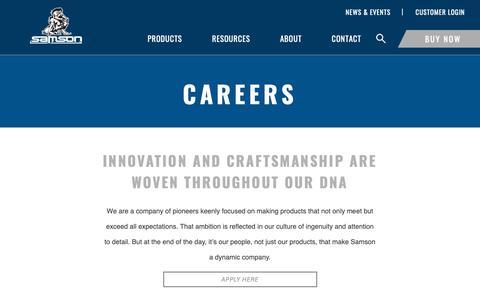 Screenshot of Jobs Page samsonrope.com - Careers - captured Dec. 13, 2018