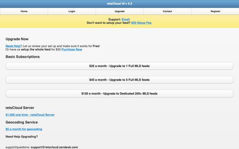 Screenshot of Signup Page retscloud.com - retsCloud UI v 4.2 - captured Nov. 2, 2018