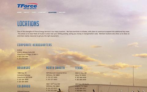 Screenshot of Locations Page tforceenergy.com - Locations    - tforceenergy.com - - captured Oct. 6, 2014