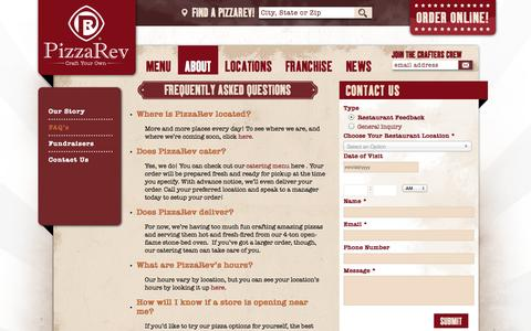 Screenshot of Contact Page pizzarev.com - Frequently Asked Questions - PizzaRev - FAQ - captured Oct. 28, 2014