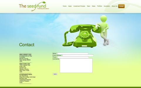 Screenshot of Contact Page theseedfund.vc - Contact | The Seed Fund - captured Oct. 9, 2014