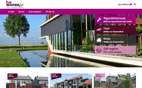 Screenshot of Home Page hwwonen.nl - Voor uw huur en koopwoningen in de Hoeksche Waard | HW Wonen - captured July 17, 2015