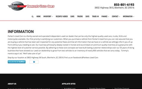 Screenshot of About Page parkersautos.com - Information | Parker's Used Cars | Used Cars For Sale in Florence Myrtle Beach Charlotte Bennettsville - captured Jan. 19, 2018
