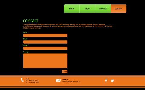 Screenshot of Contact Page emergesafe.com.au - emergeSAFE  | CONTACT - captured Nov. 15, 2016