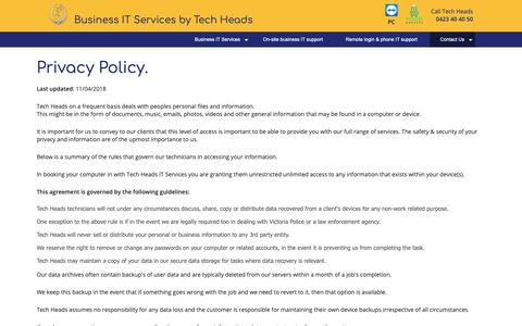 Screenshot of Privacy Page techheads.net.au - Tech Heads | Privacy Policy - captured Oct. 20, 2018