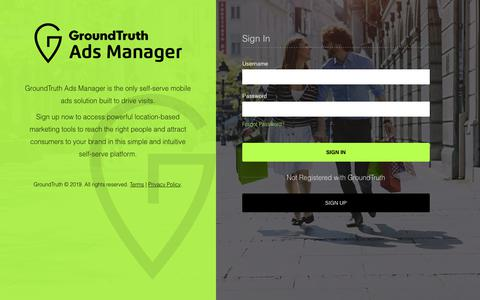 Screenshot of Login Page groundtruth.com - GT Ads Manager - captured June 14, 2019