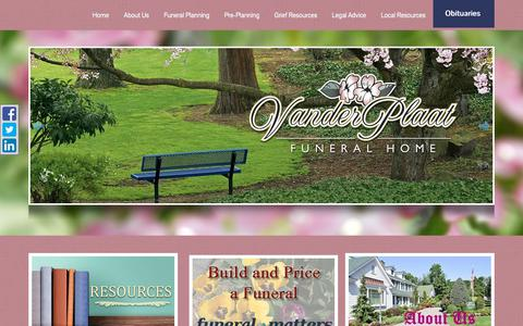 Screenshot of Home Page vanderplaatfuneralhome.com - Home | Vander Plaat Funeral Home | Olthuis Funeral Home located in ... - captured July 2, 2018