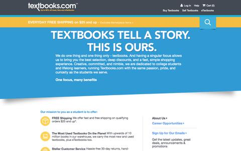 Screenshot of About Page textbooks.com - About Us | Textbooks.com - captured Oct. 27, 2015