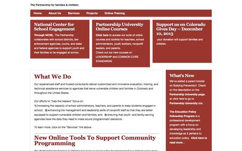 Screenshot of Home Page pffac.org - The Partnership for Families and Children - captured Feb. 15, 2016