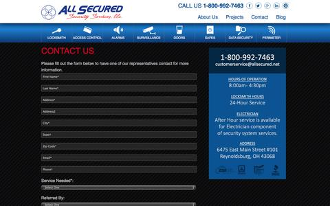 Screenshot of Contact Page allsecured.net - Contact Us | Columbus Locksmith Company – All Secured - captured Oct. 4, 2014