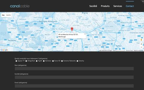 Screenshot of Contact Page canal-cable.fr - Canal Câble   –  Contact - captured Jan. 25, 2016