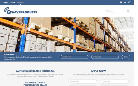 Screenshot of Signup Page zwaveproducts.com - Authorized Dealer Program - Z-Wave Products - captured Jan. 20, 2016