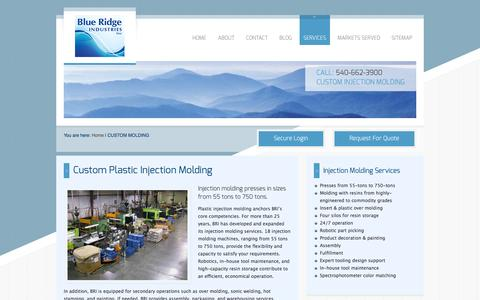 Screenshot of Services Page blueridgeind.com - Custom Plastic Injection Molding - captured Oct. 5, 2014