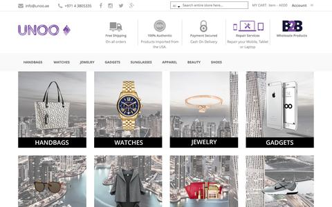 Screenshot of Home Page unoo.ae - Buy Designer handbags | Michael Kors Handbags | Kate Spade handbags - captured Feb. 13, 2016
