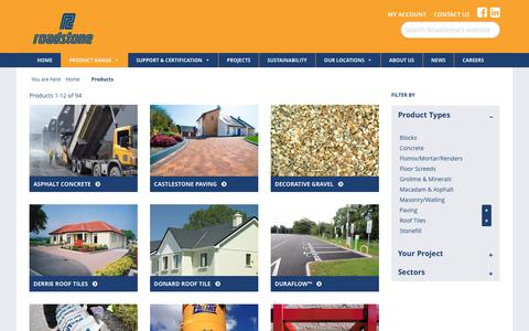 Screenshot of Products Page roadstone.ie - Products - Roadstone - leading supplier of building materials - captured Nov. 2, 2017