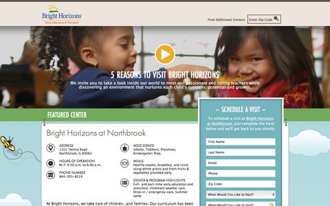 Screenshot of Landing Page brighthorizons.com - Bright Horizons® | Child Care, Back-Up Care, Early Education, and Work/Life Solutions - captured Feb. 21, 2018