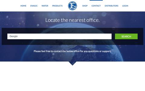 Screenshot of Contact Page Locations Page enagic.com - Contact » Locate the nearest office. - captured Sept. 25, 2018