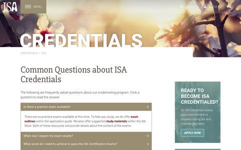 Screenshot of FAQ Page isa-arbor.com - International Society of Arboriculture > Credentials > FAQ - captured Sept. 23, 2018