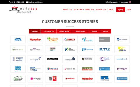 Screenshot of Case Studies Page marketdojo.com - Case Studies & Testimonials   Market Dojo eSourcing Software - captured Jan. 15, 2020
