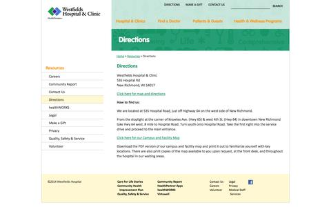 Screenshot of Maps & Directions Page westfieldshospital.com - Directions - Westfields Hospital - Westfields Hospital - captured Oct. 26, 2014