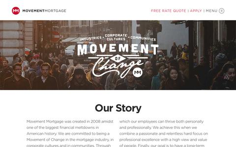 Screenshot of About Page movement.com - About Us - Movement Mortgage - captured July 10, 2018