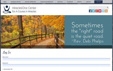 Screenshot of Login Page miraclesone.org - Log In | MiraclesOne Center for A Course in Miracles - captured Nov. 3, 2014