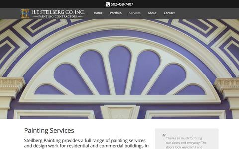 Screenshot of Services Page steilbergpainting.com - Painting Services | Steilberg Painting, Louisville, KY. - captured Jan. 23, 2016