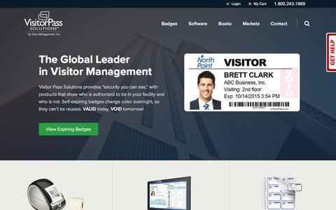 Screenshot of Home Page visitorpasssolutions.com - Visitor Management System, Visitor Badge, Software, Log Book, Sign-In, VMS - captured Nov. 28, 2016