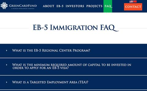 Screenshot of FAQ Page greencardfund.com - EB-5 Investment - captured Nov. 13, 2016