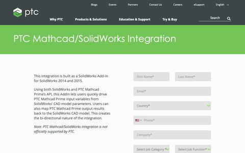 Screenshot of Trial Page ptc.com - PTC Mathcad/SolidWorks Integration | PTC - captured Nov. 13, 2018