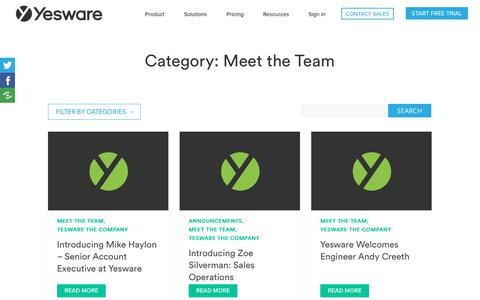 Screenshot of Team Page yesware.com - Meet the Team Archives | Yesware - captured July 12, 2019