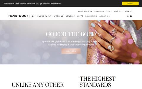 Screenshot of Home Page heartsonfire.com - The World's Most Perfectly Cut Diamond | Hearts On Fire - captured Aug. 17, 2019