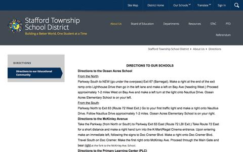 Screenshot of About Page Maps & Directions Page staffordschools.org - Directions / Directions to our Educational Community - captured Dec. 1, 2016