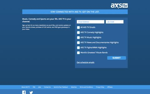 Screenshot of Signup Page axs.tv - Stay connected with AXS TV. Get on the List. - captured Sept. 19, 2014