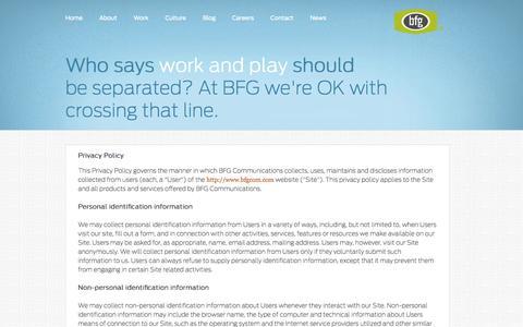Screenshot of Privacy Page bfgcom.com - BFG - captured Nov. 4, 2014