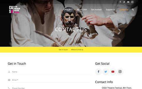 Screenshot of Contact Page casafestival.org.uk - Contact us - Casa Festival - captured July 7, 2017
