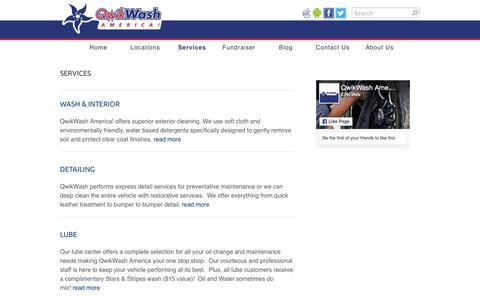Screenshot of Services Page qwikwash.com - Services - QwikWash America! - captured Sept. 22, 2018