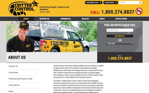 Screenshot of About Page crittercontrol.com - Humane Animal Removal, Wildlife Control and Animal Damage Control from Critter Control - captured July 22, 2018