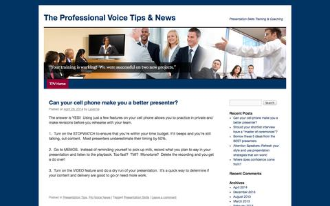 Screenshot of Blog professionalvoice.com - Presentation Skills Training, Public Speaking Coaching, Tips & News | The Professional Voice - captured Oct. 3, 2014